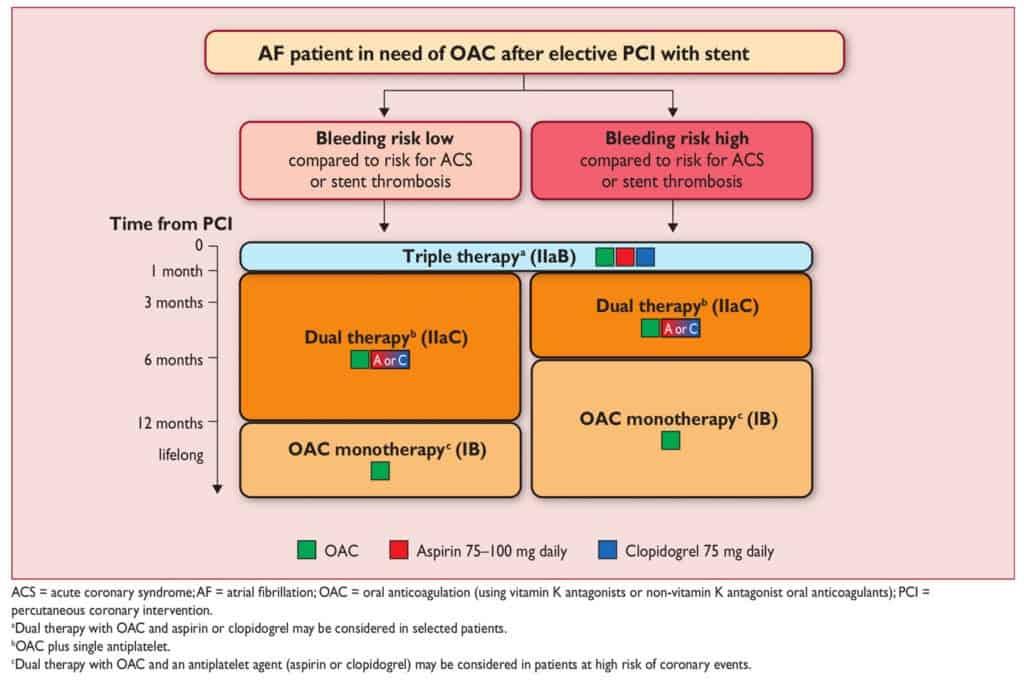 Antitrombotik dan antikoagulan pada pasien AF yang menjalani stent
