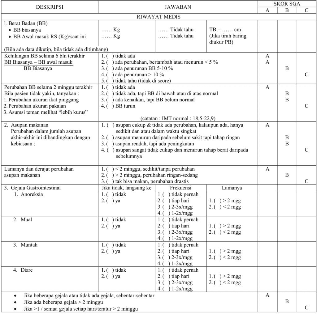 Penilaian SGA bagian pertama untuk penilaian nutrisi pasien kritis