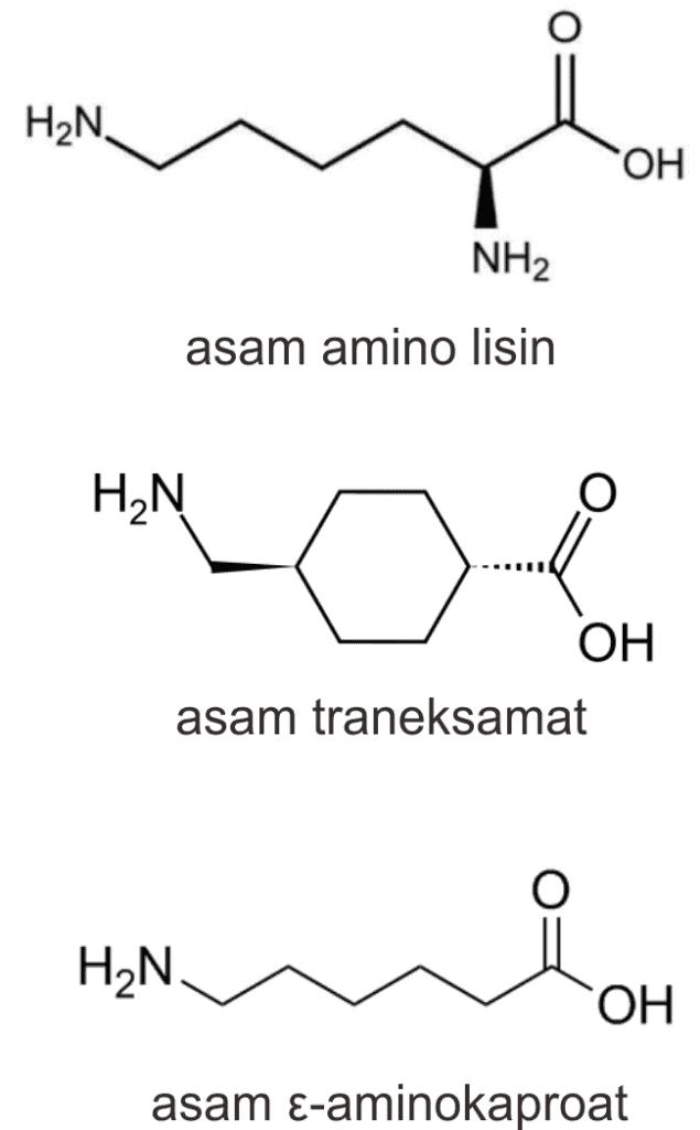 Struktur lisin, asam traneksamat, dan asam ε-aminokaproat