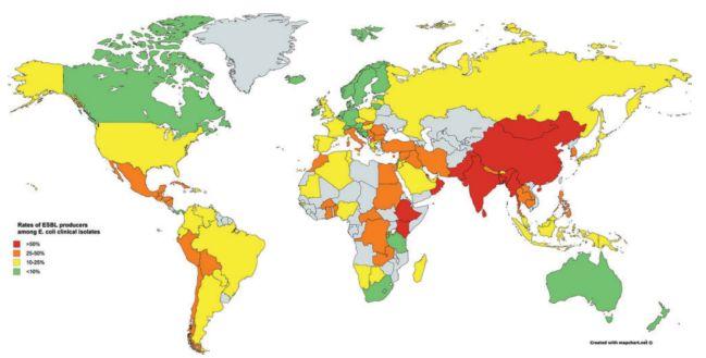 Data sebaran ESBL secara global tahun 2014