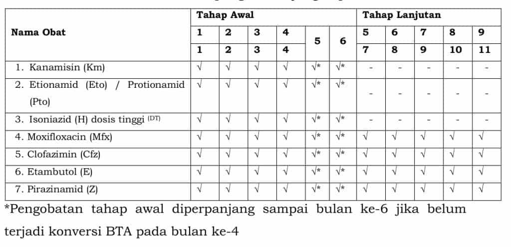 Jenis obat dan durasi pengobatan jangka pendek TB-RO