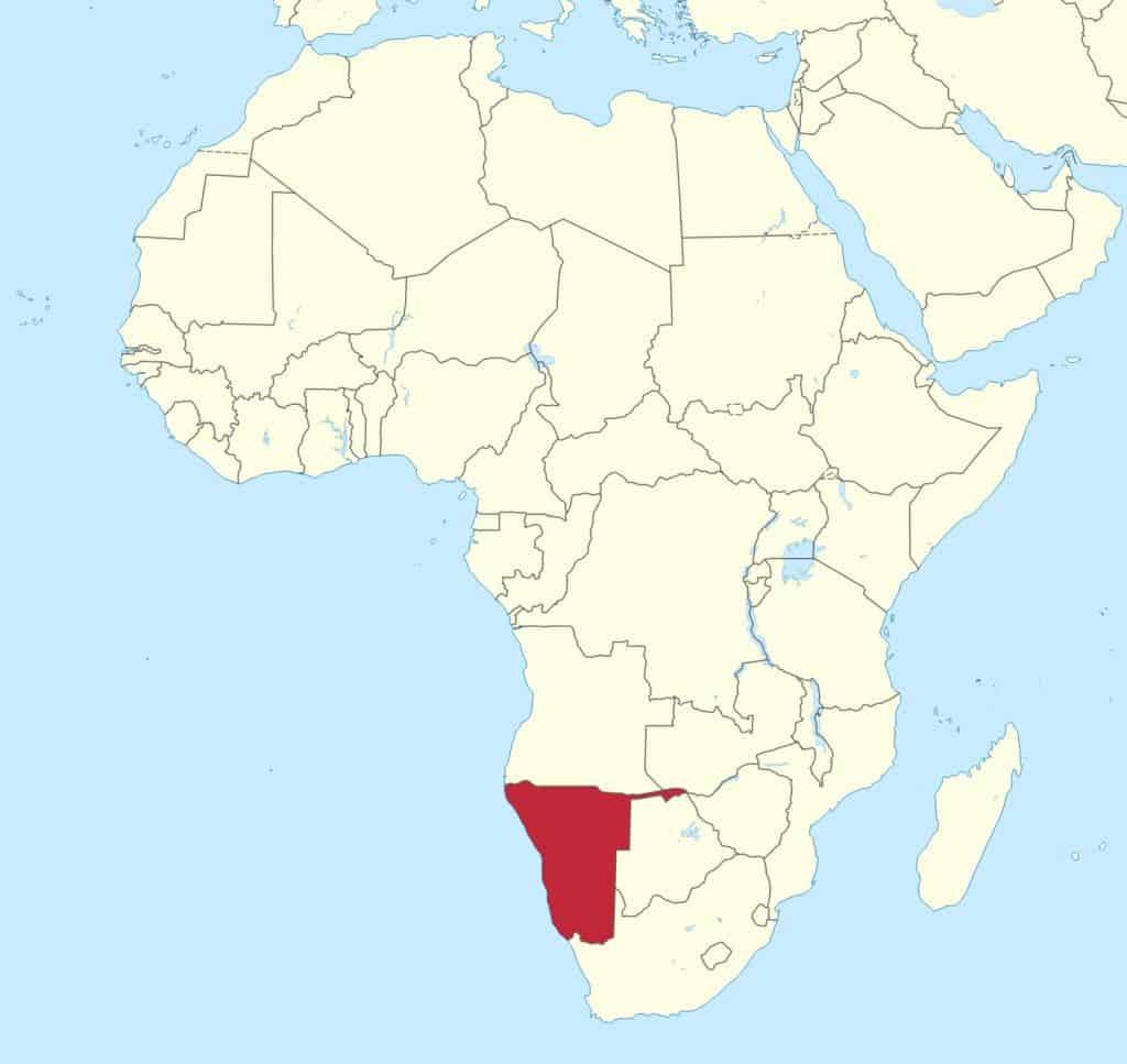 Letak negara Namibia
