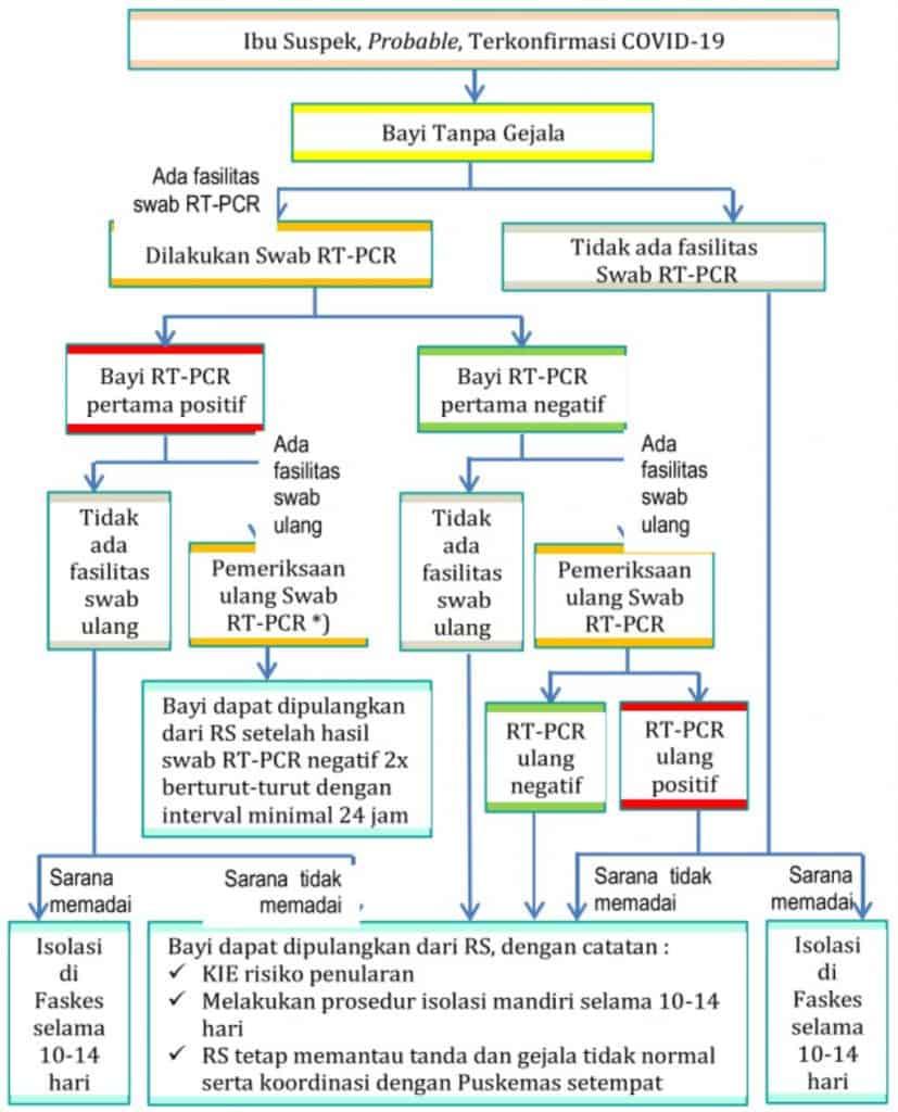 Algoritma alur tatalaksana neonatus dari ibu suspek atau terkonfirmasi Covid-19