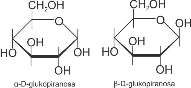 Struktur anomer α-D-glukopiranosa dan β-D-glukopiranosa