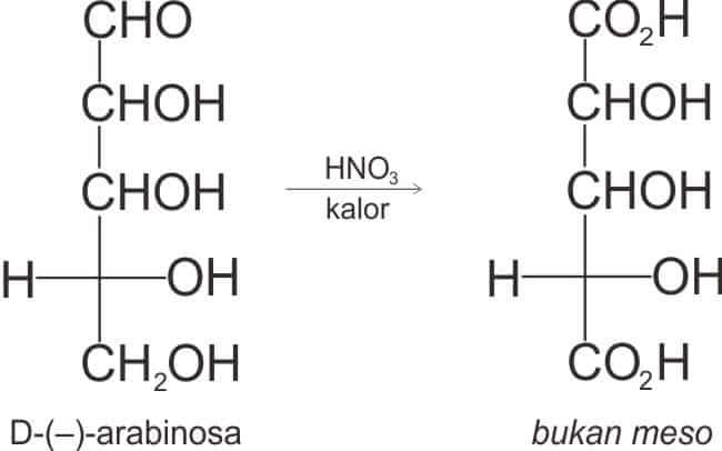 Dwiasam dari (-)-arabinosa bukan merupakan dwiasam meso karena aktif secara optis.