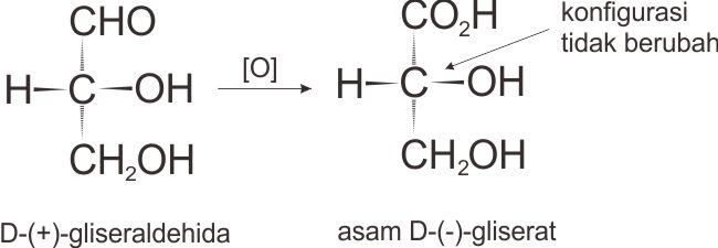 onfigurasi deret-D tidak berubah dari D-(+)-gliseraldehid menjadi asam D-(–)-gliserat