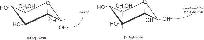 Posisi aksial dan ekuatorial gugus OH di karbon 1 dari D-glukosa