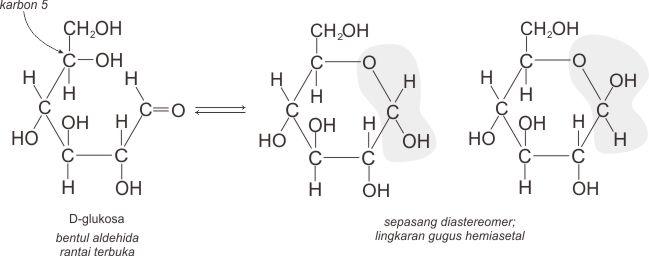 Reaksi pembentukan hemiasetal siklik dari D-glukosa