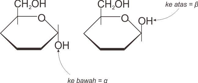 Struktur  α-anomer dan  β-anomer dari D-glukosa
